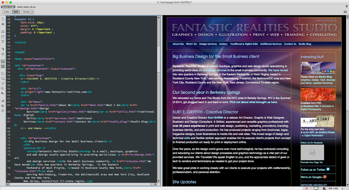 Working on the FRS Web Site in Adobe DreamWeaver