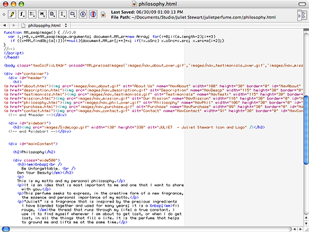 HTML code in Text Wrangler. Want a piece of this action?